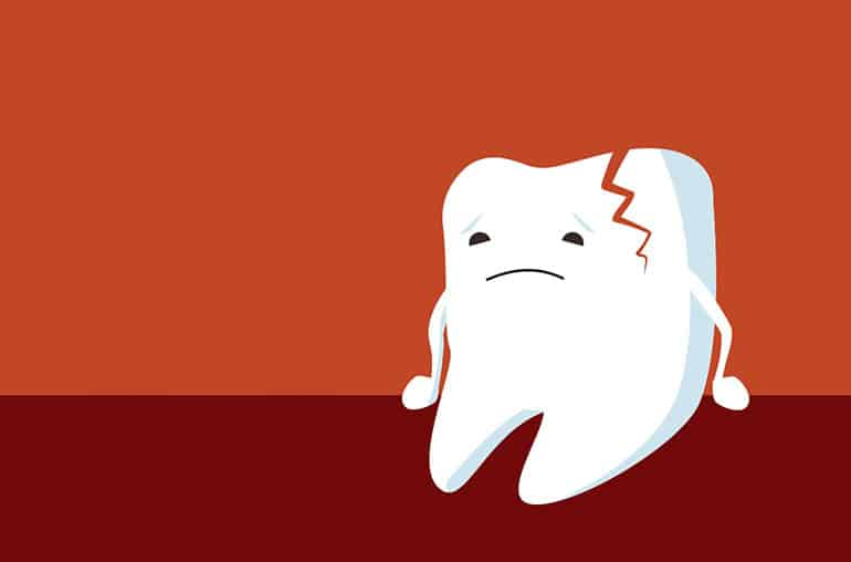 Cracked tooth in cartoon image