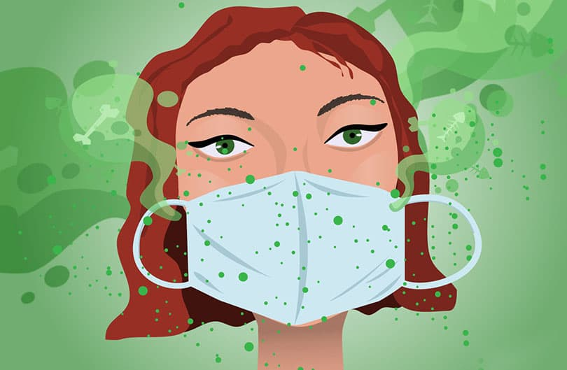 Graphical woman smelling bad under her mask