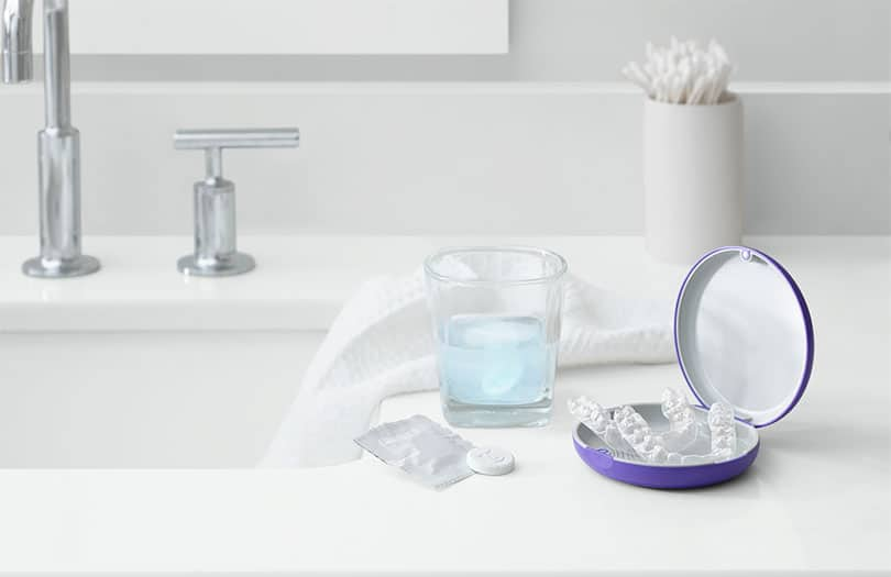 Invisalign aligner and cleaning tablet