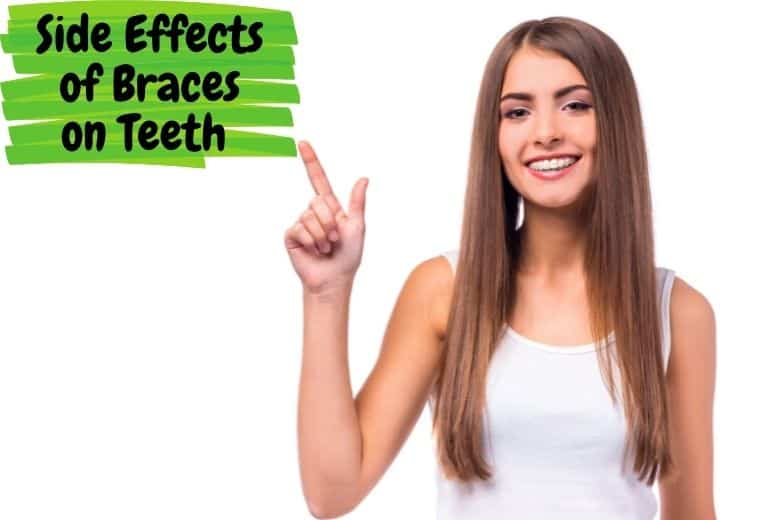 A young lady with braces is pointing at side effects of braces on teeth